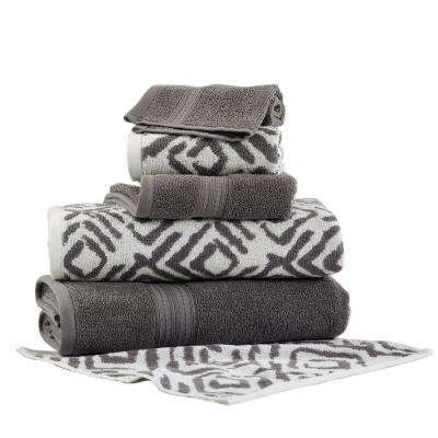 Ikat Diamond 6-Piece Cotton Bath Towel Set in Platinum