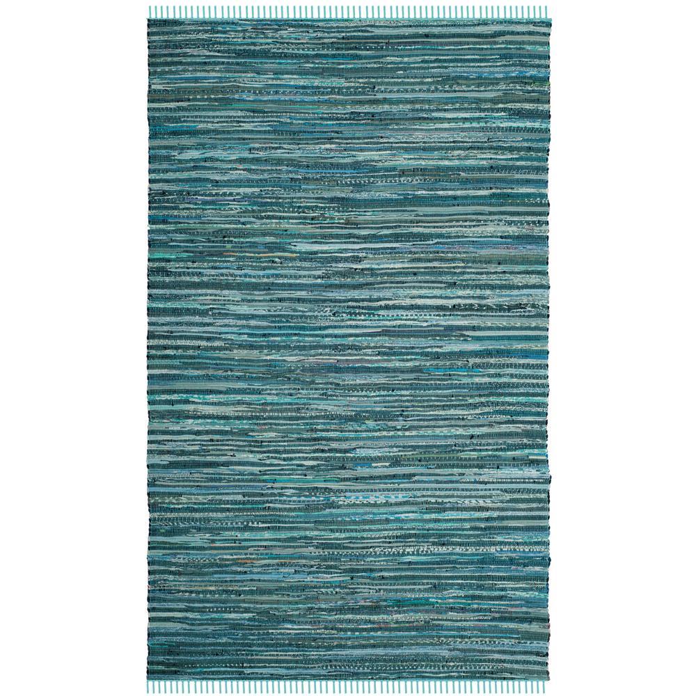 Rag Rug Turquoise/Multi 5 ft. x 8 ft. Area Rug