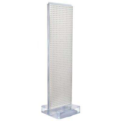 60 in. H x 16 in. W 2-Sided Pegboard Floor Display on Studio Base in White