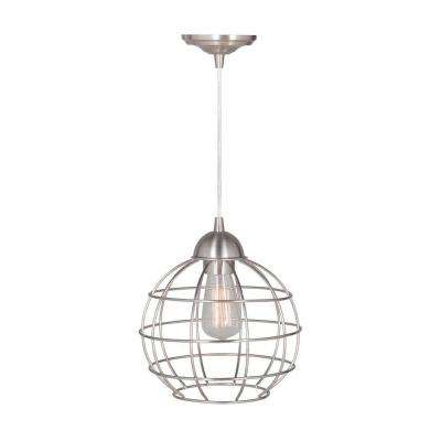 Hardwired Pendant Series 1-Light Polished Nickel Pendant with Circular Cage Shade