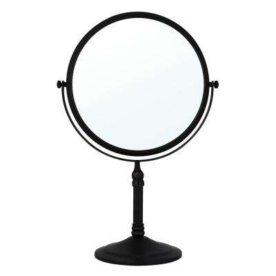 8 in. 2-Sided 1X and 5X Brass 14 in. Counter Top Magnifying Makeup Mirror in Rubbed Bronze