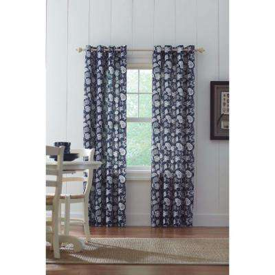 Semi-Opaque Navy Grommet Curtain - 52 in. W x 84 in. L