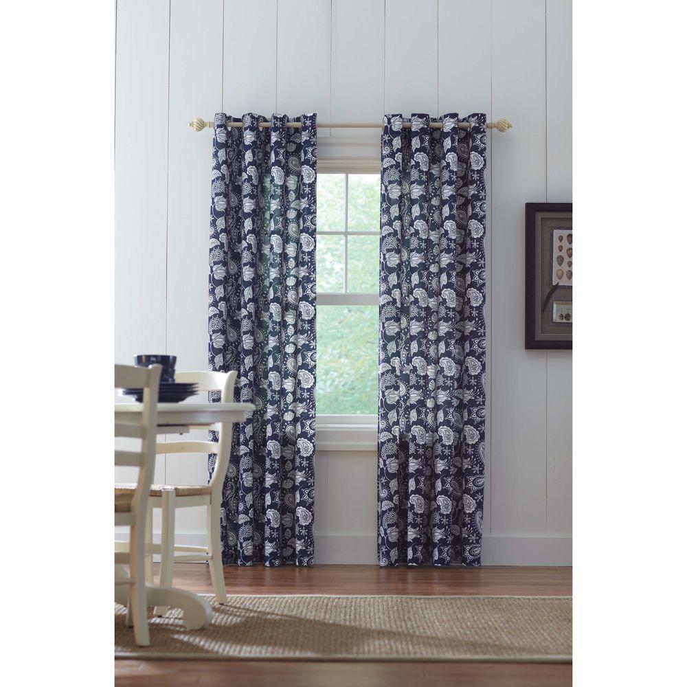 Semi-Opaque Navy Grommet Curtain - 52 in. W x 84 in. L