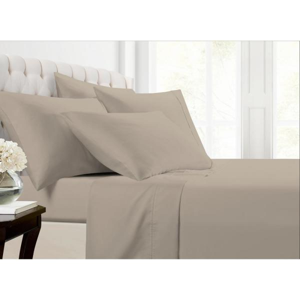 Morgan Home MHF Home 6-Piece Beige Solid Cotton Rich King Sheet