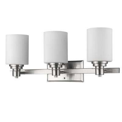Amelia 3-Light Satin Nickel Vanity Light with Ribbed Glass Shades