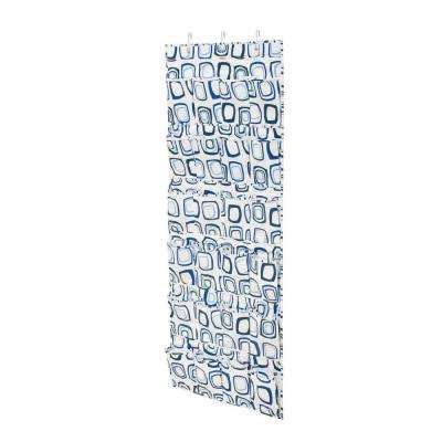 Over-the-Door 24-Pocket Blue And White Shoe Organizer