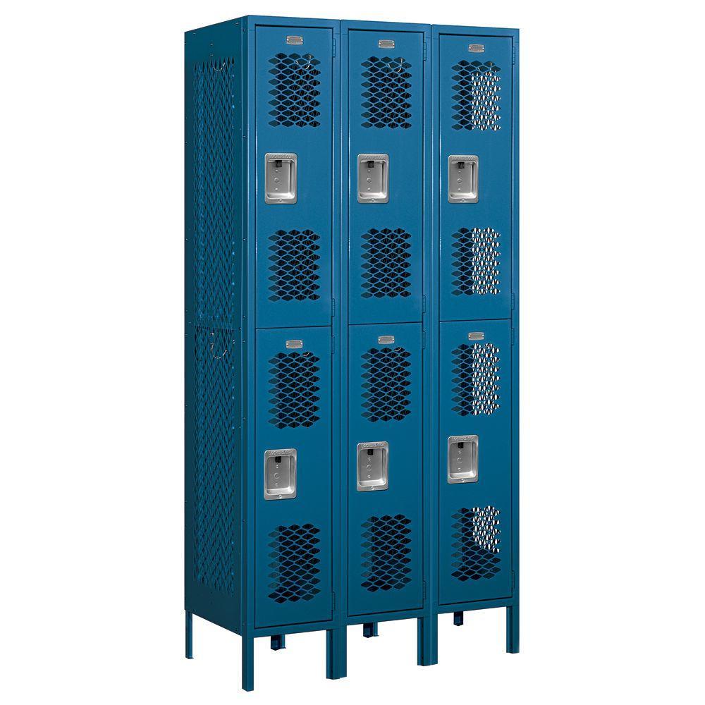 Salsbury Industries 72000 Series 36 in. W x 78 in. H x 18 in. D Double Tier Vented Metal Locker Assembled in Blue
