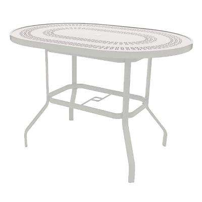 Marco Island 42 in. x 60 in. White Oval Commercial Aluminum Bar Height Patio Dining Table