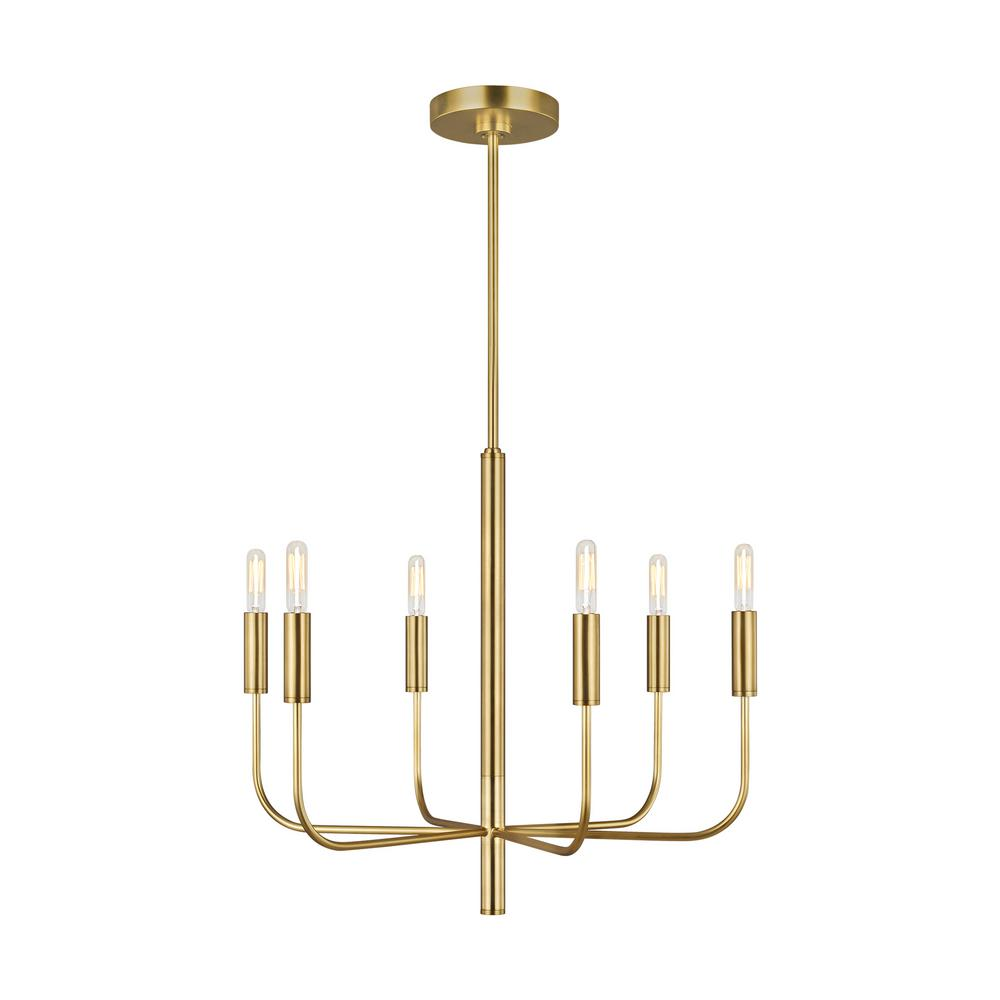 Ed ellen degeneres crafted by generation lighting brianna 24 in w 6 light burnished brass chandelier with swivel canopy