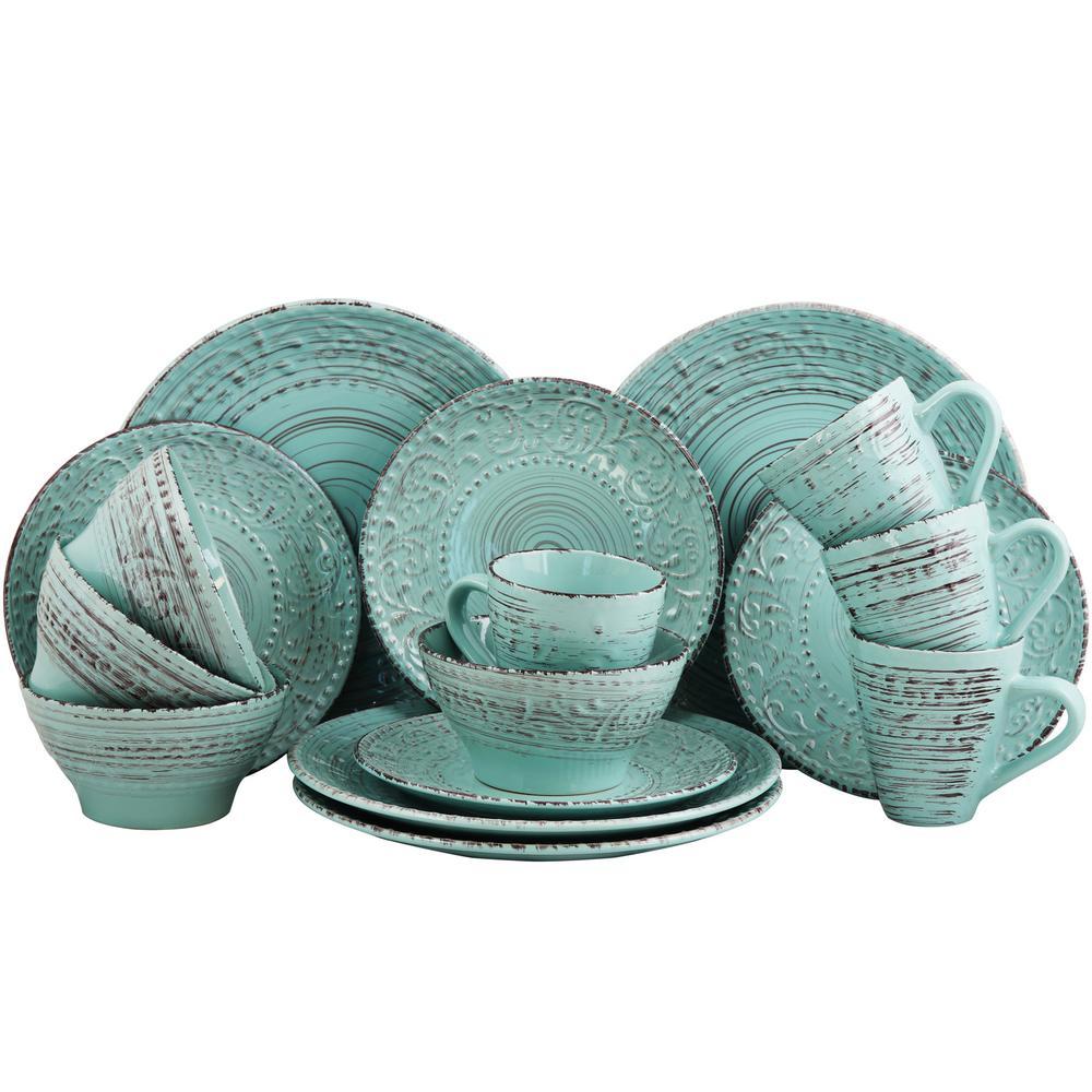 Elama Malibu Waves 16-Piece Turquoise Dinnerware Set  sc 1 st  Home Depot & Elama Malibu Waves 16-Piece Turquoise Dinnerware Set-985102701M ...