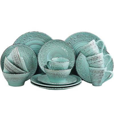 Malibu Waves 16-Piece Turquoise Dinnerware Set