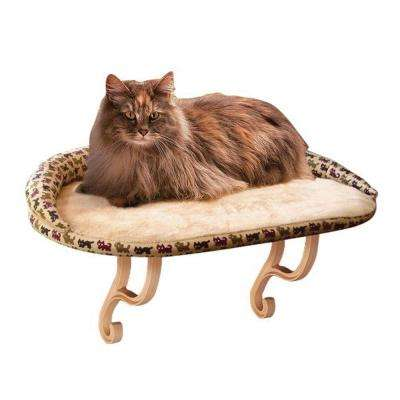 Kitty Sill Deluxe Medium Tan Kitty Print Window Sill Cat Seat with Bolster