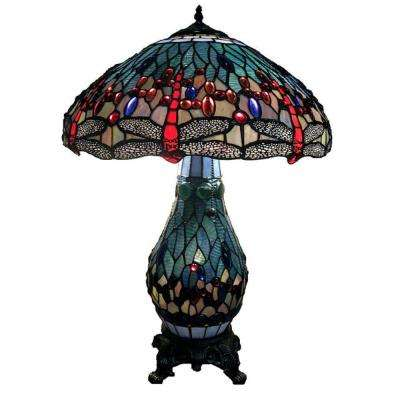 Dragonfly 26 in. Antique Brass Table Lamp with Stained Glass