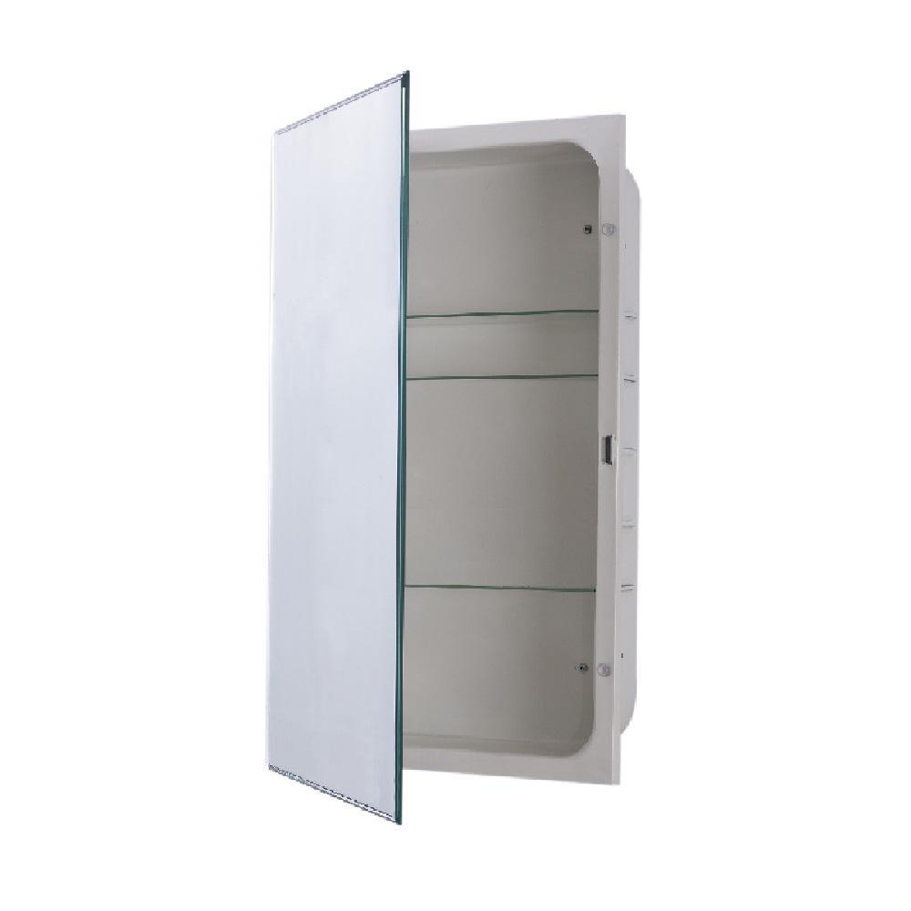 Sumas 16 in. x 26 in. Frameless Recessed or Surface Mount Swing Door Beveled Mirror Medicine Cabinet