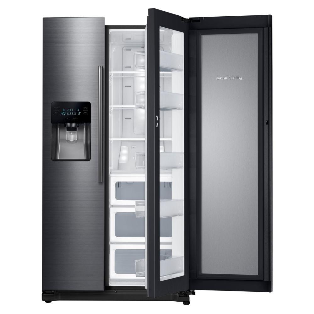 samsung 24 7 cu ft side by side refrigerator in black stainless steel rh25h5611sg the home depot. Black Bedroom Furniture Sets. Home Design Ideas