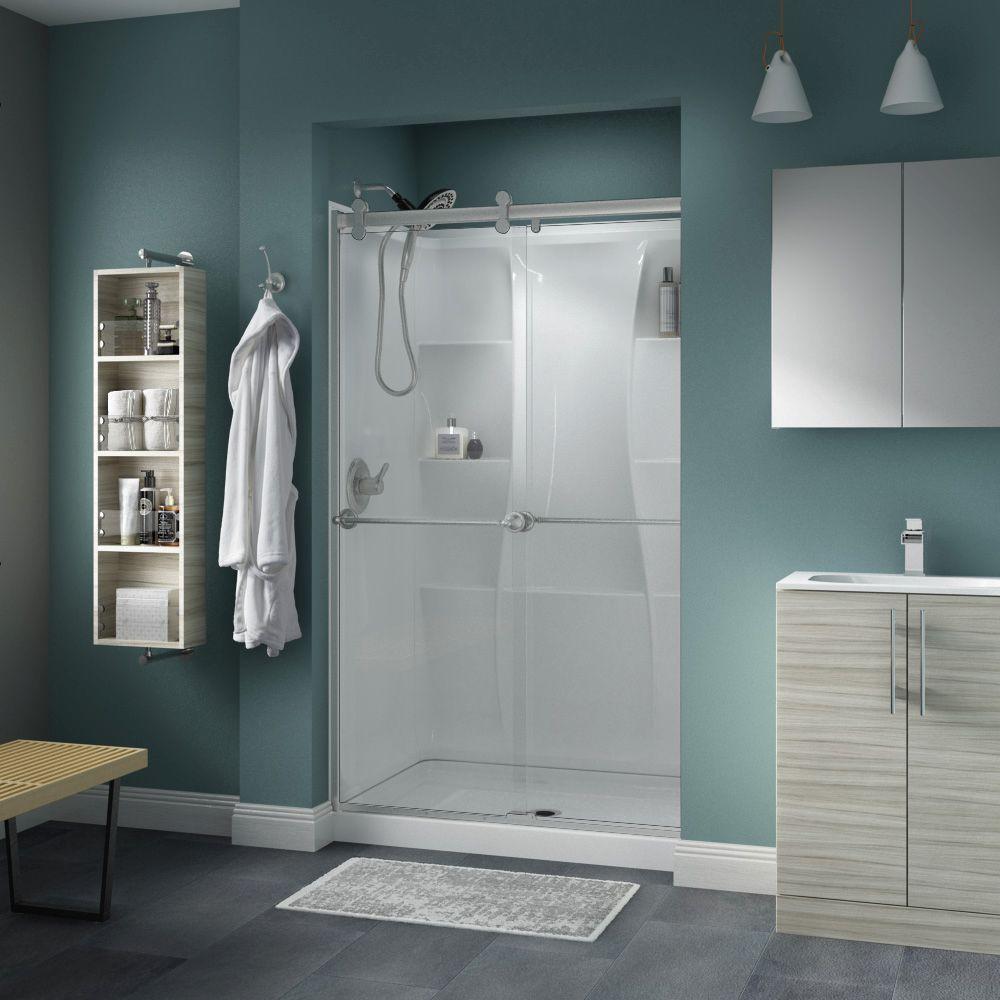 48 Clear Nickel Bypass Sliding Shower Doors