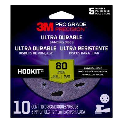 Pro Grade Precision 5 in. 80-Grit Ultra Durable Universal Hole Sanding Disc (10-Pack)