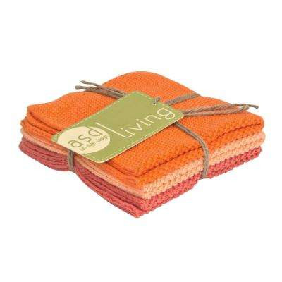Set of 3 Cotton 10x10 Dishcloths, Fresh Melon