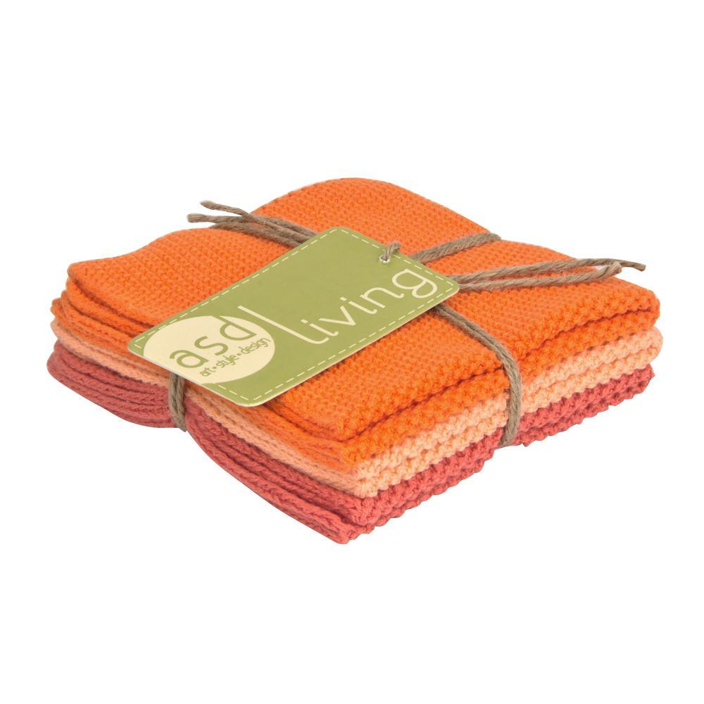 Set of 3 Cotton 10x10 Dishcloths, Fresh Melon