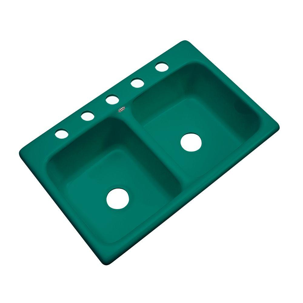 Thermocast Newport Drop-In Acrylic 33 in. 5-Hole Double Bowl Kitchen Sink in Verde