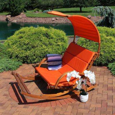 Wood Outdoor Rocking Loveseat with Burnt Orange Cushions, Footrest and Canopy