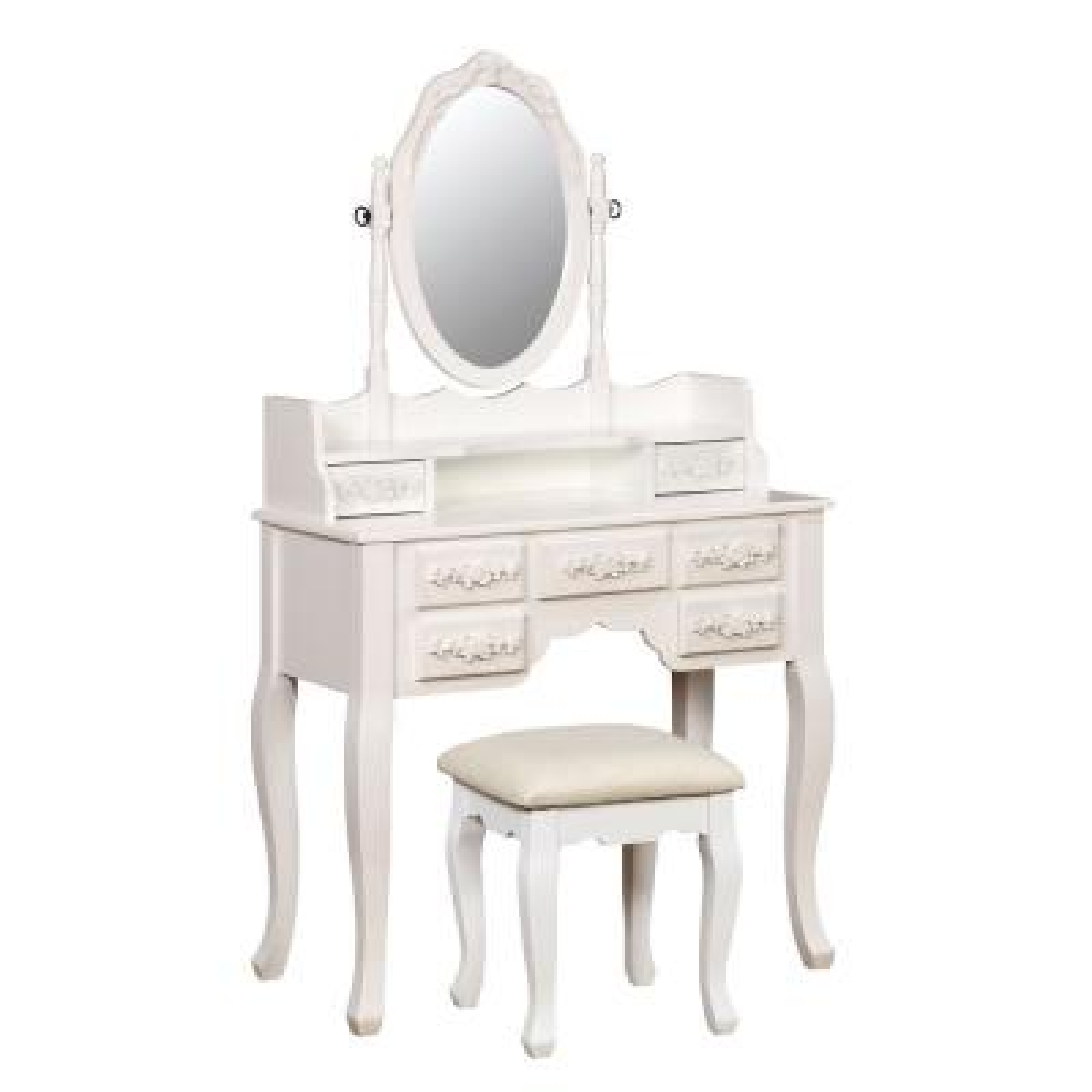 Zehner 2-Piece White Oval Mirror Vanity Set