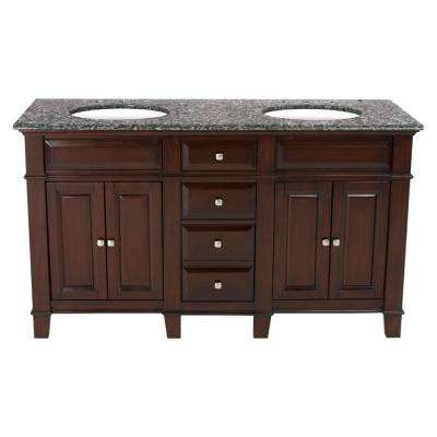 60 in. W x 23 in. D Solid Hardwood Double Vanity in Espresso with Solid Granite Top in Leopard