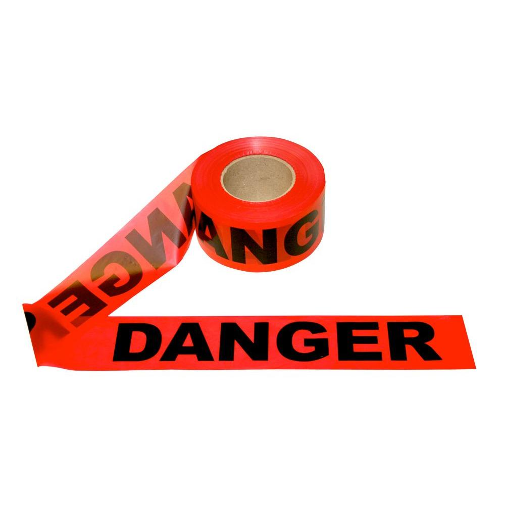 Pro Pack 3 in. x 1000 ft. Red Danger Barricade Tape