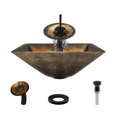 Glass Vessel Sink in Metallic Green and Gold with Waterfall Faucet and Pop-Up Drain in Antique Bronze