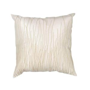 Black and White Modern Weave Ivory Floral Hypoallergenic Polyester 18 in. x 18 in. Throw Pillow