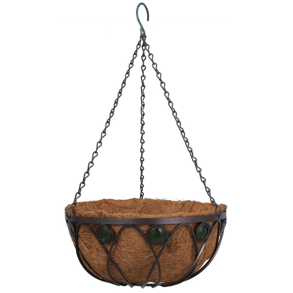 Emerald 14 in. Black Metal Coconut Hanging Basket