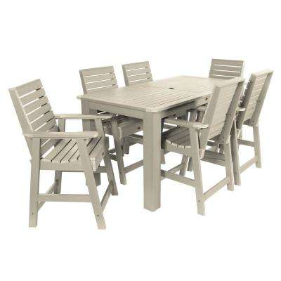 Weatherly Whitewash 7-Piece Recycled Plastic Rectangular Outdoor Balcony Height Dining Set