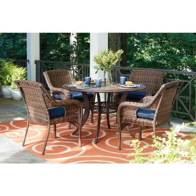 Cambridge 5-Piece Brown Wicker Outdoor Patio Dining Set with Standard Midnight Navy Blue Cushions