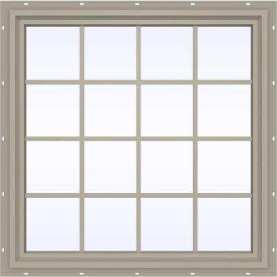 47.5 in. x 47.5 in. V-4500 Series Fixed Picture Vinyl Window with Grids in Tan