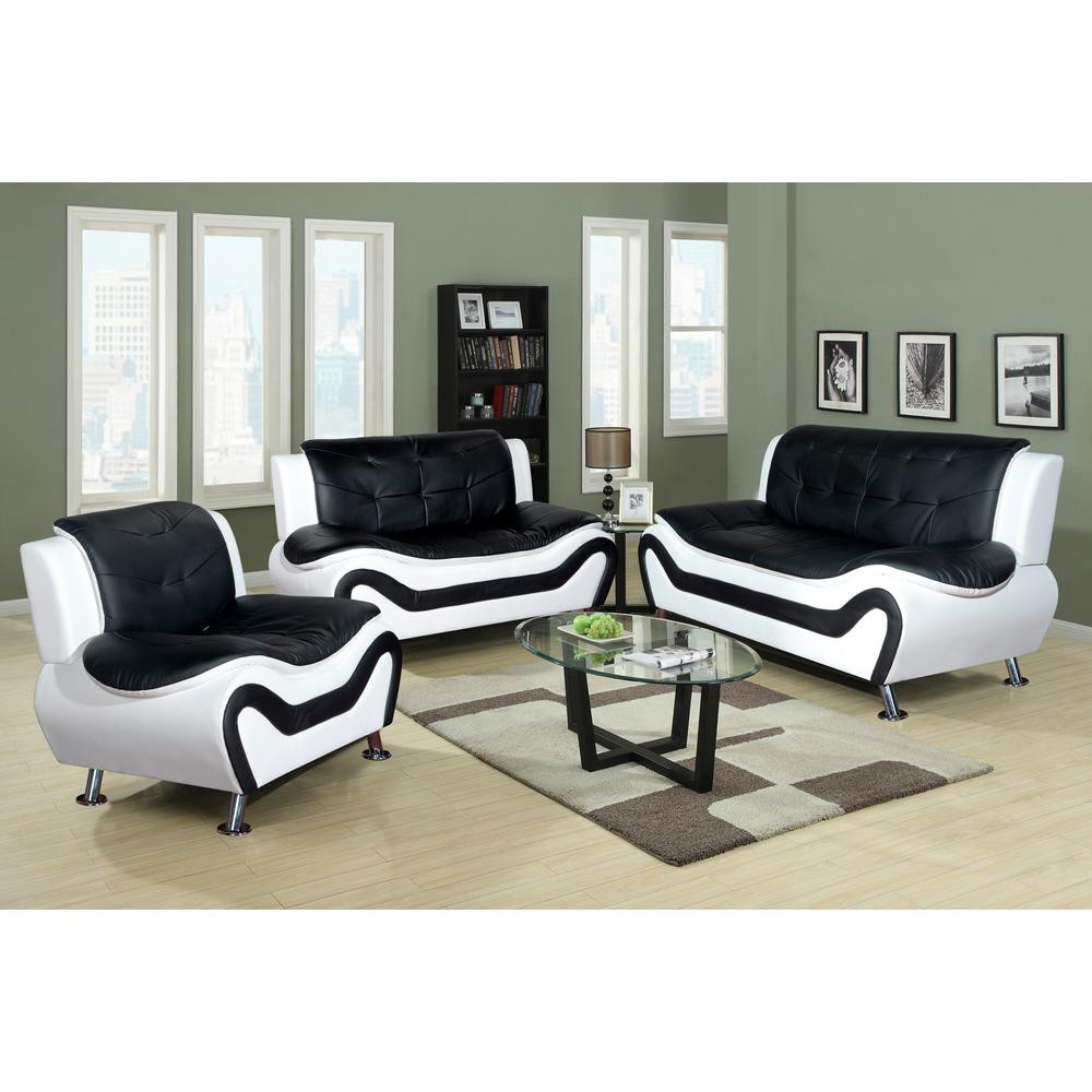 White And Black Leather Three Piece Sofa Set