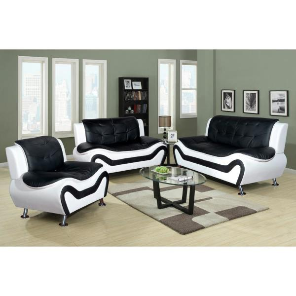 White and Black Leather Three Piece Sofa Set SH4501-3PC - The Home Depot