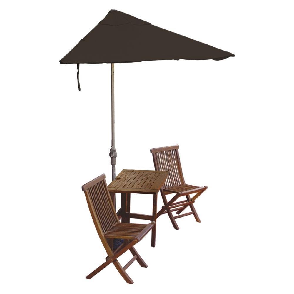 Blue Star Group Terrace Mates Villa Premium 5-Piece Patio Bistro Set with 9 ft. Chocolate Sunbrella Half-Umbrella