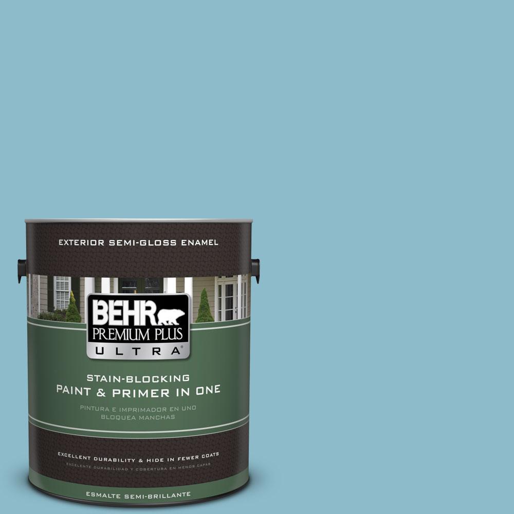 BEHR Premium Plus Ultra 1-gal. #S460-3 Blue Echo Semi-Gloss Enamel Exterior Paint