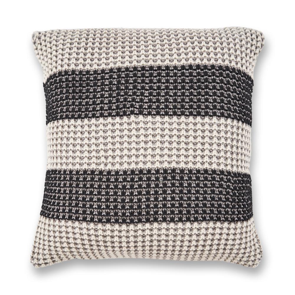 Grey/Black Stripe 20 in. x 20 in. Decorative Pillow