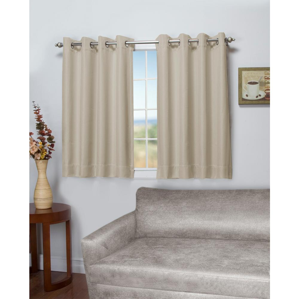 Ricardo Trading Tacoma 50 in. W x 45 in. L Polyester Double Blackout Grommet Window Panel in Parchment