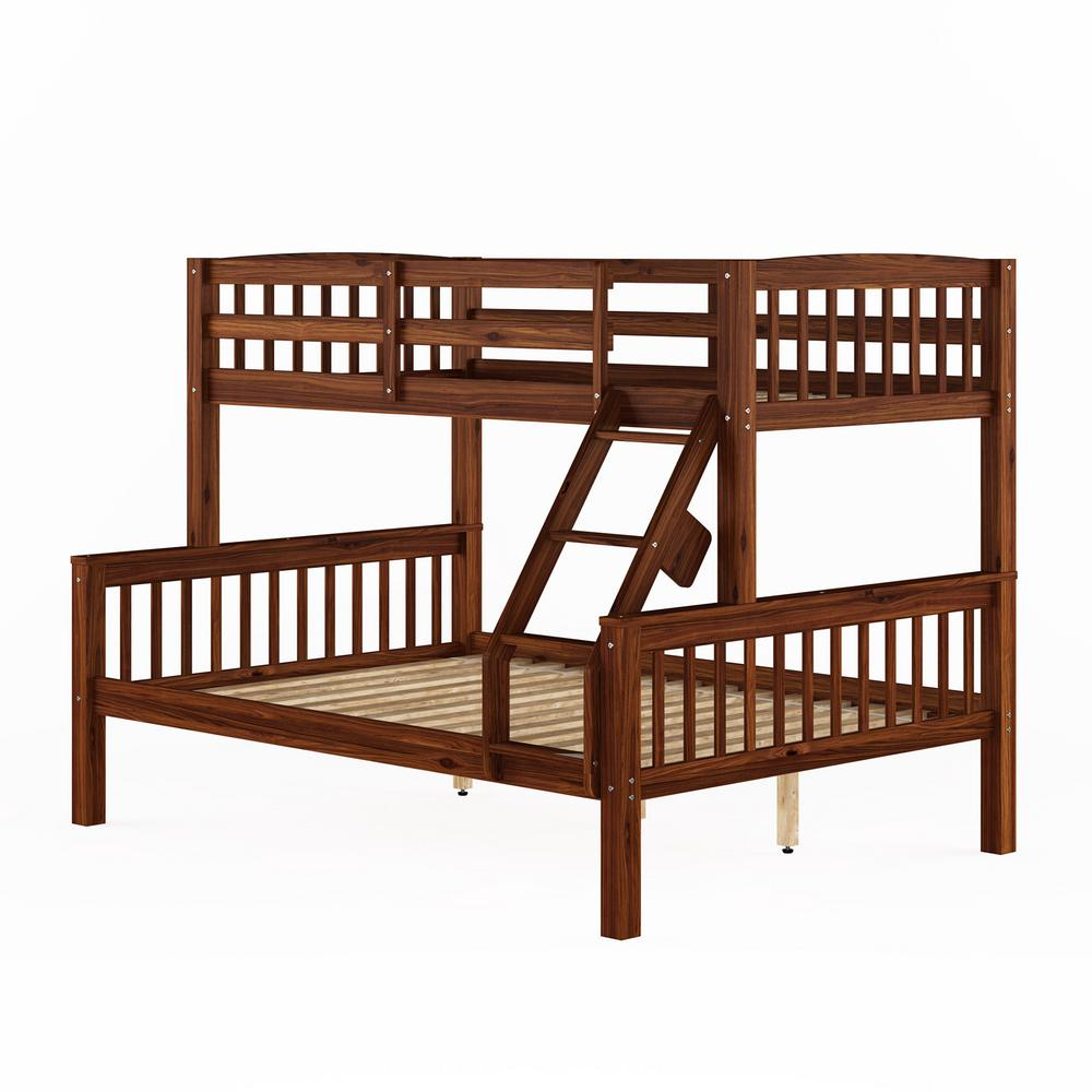Corliving Dakota Walnut Brown Twin Single Over Full Double Bunk Bed