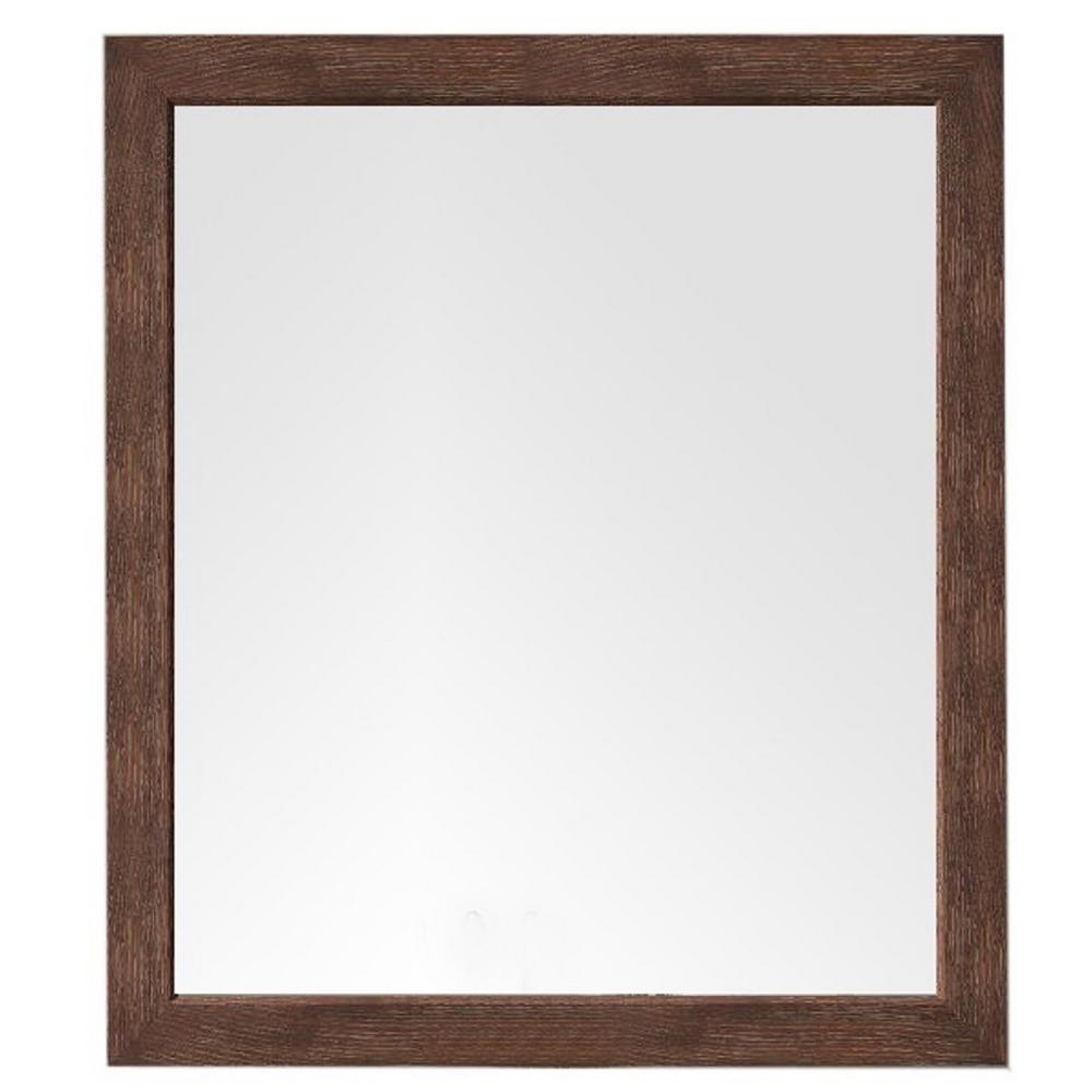 Columbia 48 in. x 42 in. H Framed Wall Mirror in Coffee Oak