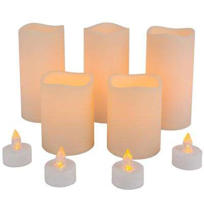 Battery Operated Bisque Color LED Resin Candle Set (9-Piece)
