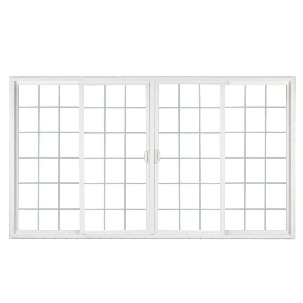 Simonton 144 in x 80 in 4 panel contemporary vinyl for Sliding panel doors interior