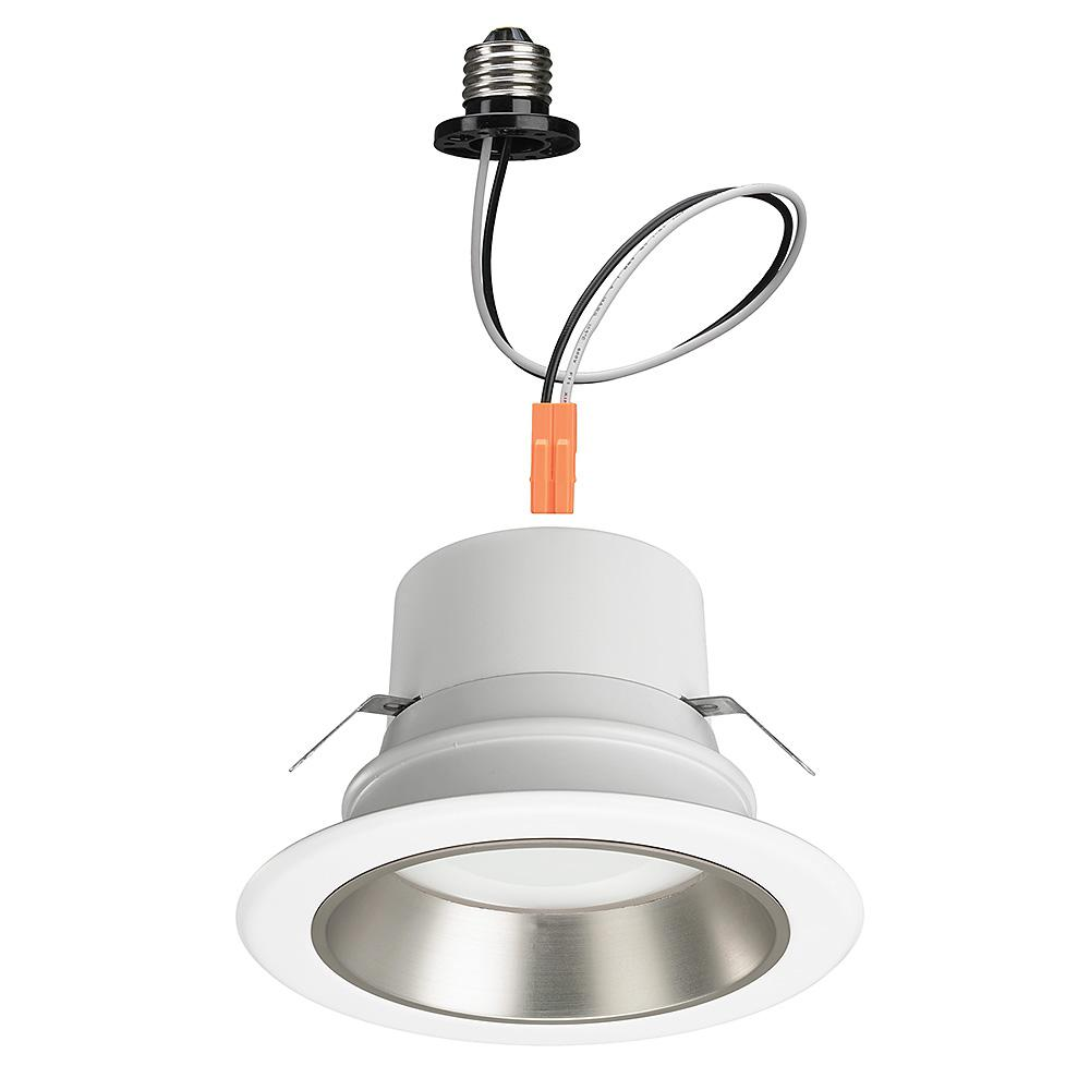 4 in. White Integrated LED Recessed Downlight with 4-Color Baffle Trim