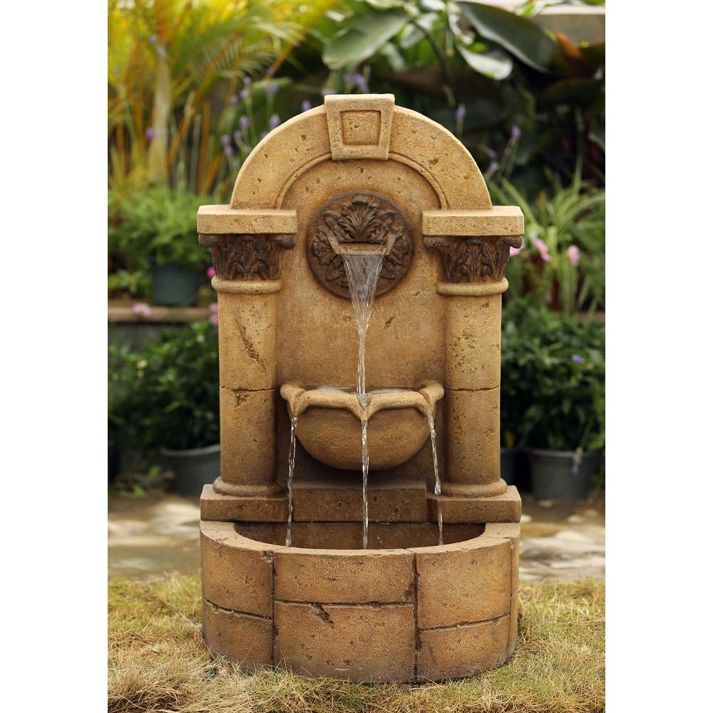 Jeco marble pillar garden wall fountain fcl124 the home for Outdoor wall fountains