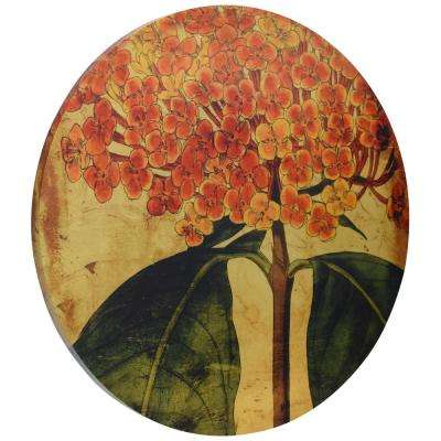 """Vibrant Floral"" Circular gold canvas Giclee printed on 2 in.  Wood Stretcher Wall Art"