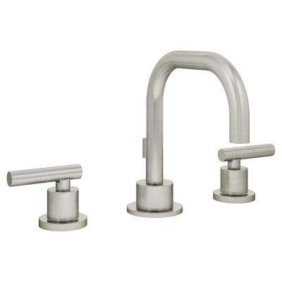 Modern 8 in. Widespread 2-Handle Bathroom Faucet with Drain Assembly in Brushed Nickel