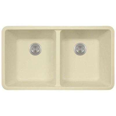 Undermount Granite Composite 32.5 in. 0-Hole Double Bowl Kitchen Sink in Beige