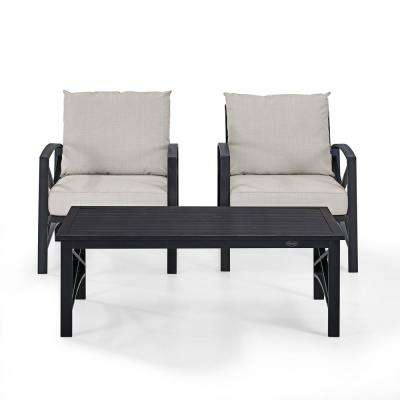 Kaplan 3-Piece Metal Patio Outdoor Seating Set with Oatmeal Cushion - 2-Outdoor Chairs, Coffee Table